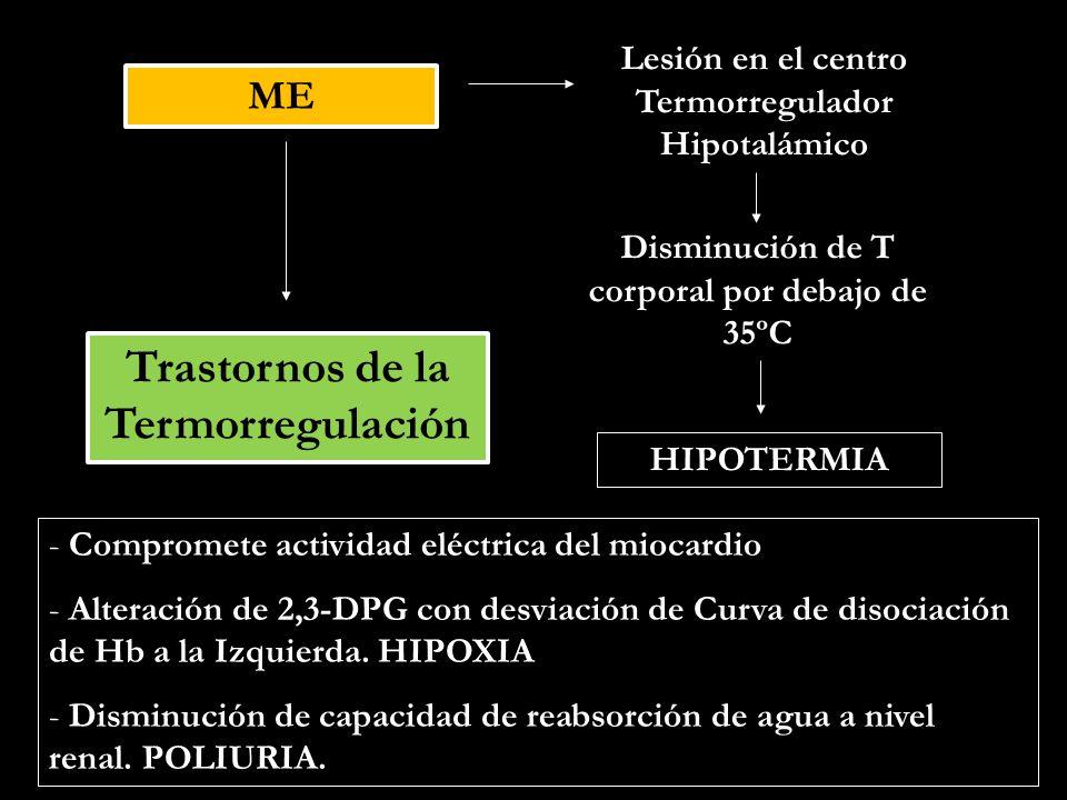 ME Trastornos de la Termorregulación Lesión en el centro Termorregulador Hipotalámico Disminución de T corporal por debajo de 35ºC HIPOTERMIA - Compro