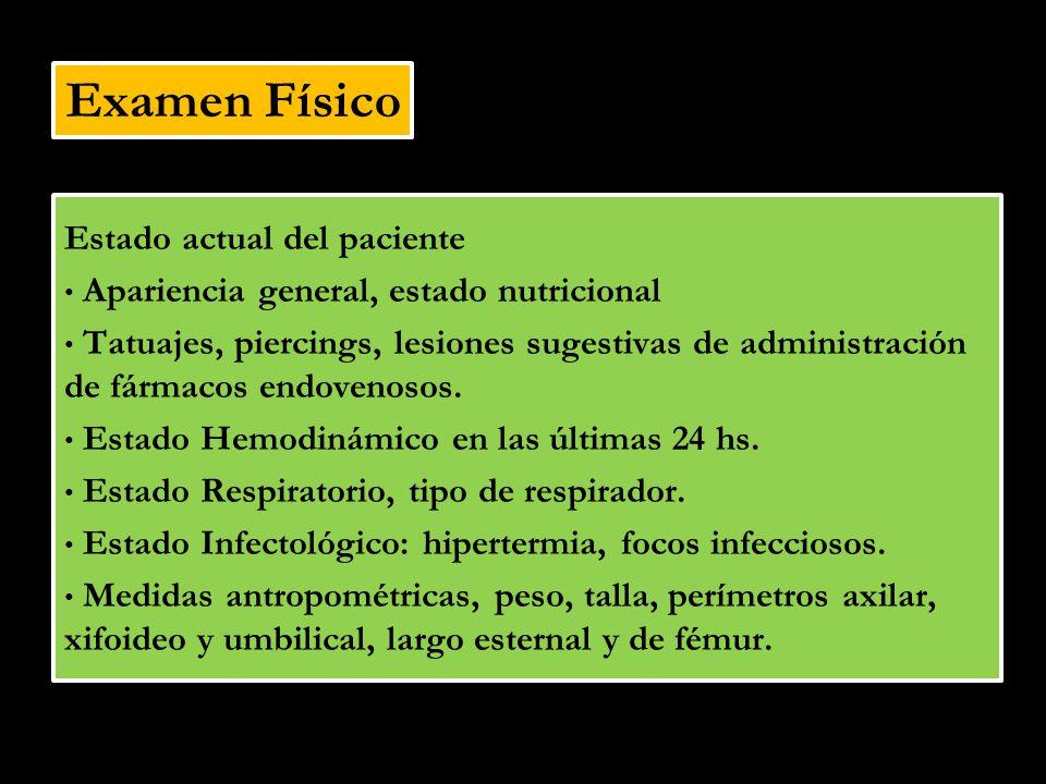 Examen Físico Estado actual del paciente Apariencia general, estado nutricional Tatuajes, piercings, lesiones sugestivas de administración de fármacos