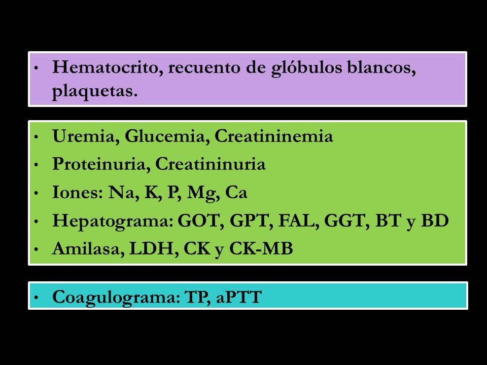 Hematocrito, recuento de glóbulos blancos, plaquetas. Uremia, Glucemia, Creatininemia Proteinuria, Creatininuria Iones: Na, K, P, Mg, Ca Hepatograma: