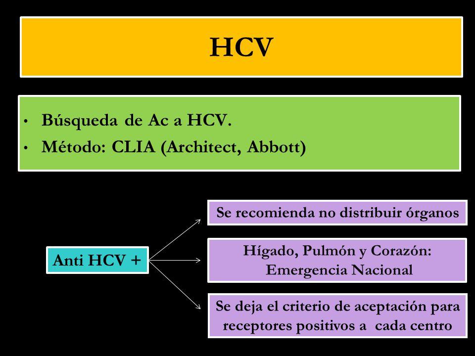 HCV Búsqueda de Ac a HCV. Método: CLIA (Architect, Abbott) Se recomienda no distribuir órganos Se deja el criterio de aceptación para receptores posit