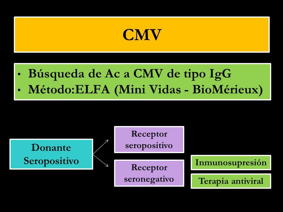 CMV Búsqueda de Ac a CMV de tipo IgG Método:ELFA (Mini Vidas - BioMérieux) Búsqueda de Ac a CMV de tipo IgG Método:ELFA (Mini Vidas - BioMérieux) Dona