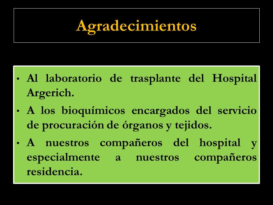 Agradecimientos Al laboratorio de trasplante del Hospital Argerich. A los bioquímicos encargados del servicio de procuración de órganos y tejidos. A n