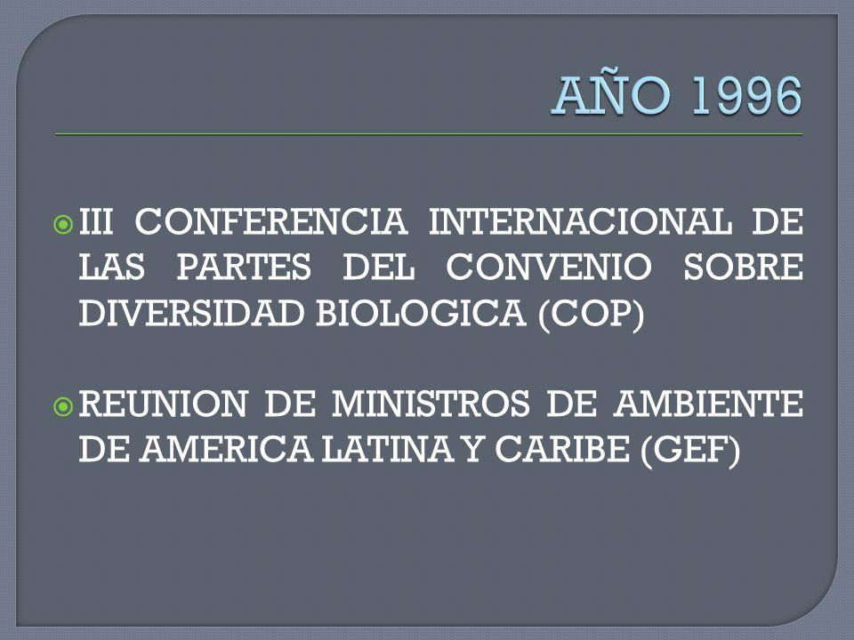 III CONFERENCIA INTERNACIONAL DE LAS PARTES DEL CONVENIO SOBRE DIVERSIDAD BIOLOGICA (COP) REUNION DE MINISTROS DE AMBIENTE DE AMERICA LATINA Y CARIBE