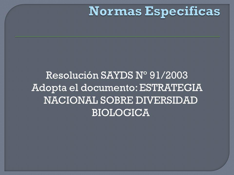 Resolución SAYDS Nº 91/2003 Adopta el documento: ESTRATEGIA NACIONAL SOBRE DIVERSIDAD BIOLOGICA