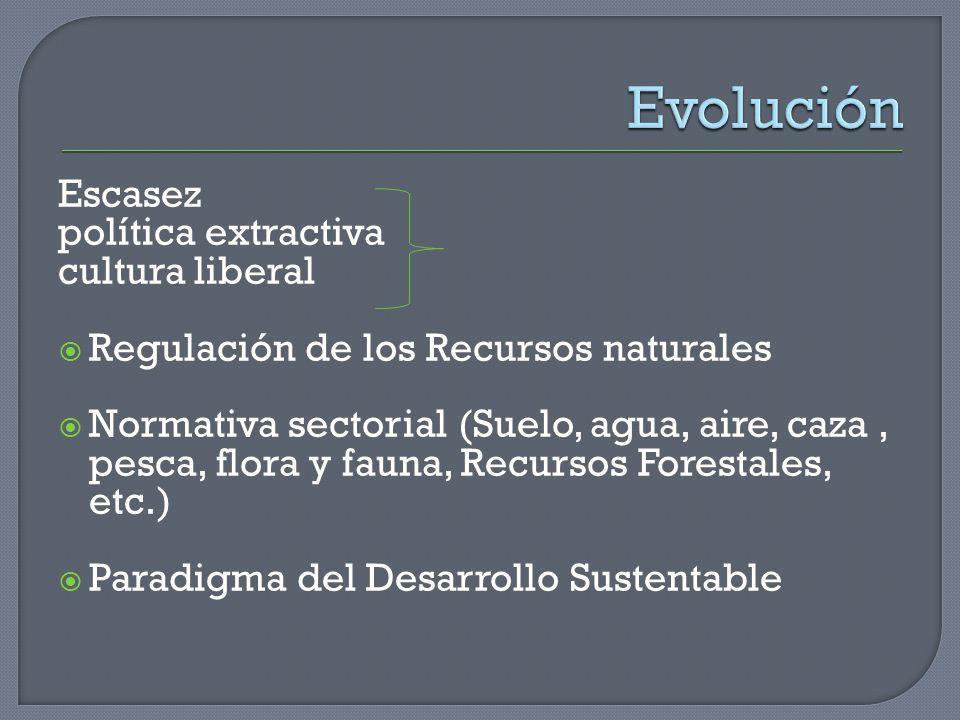 Escasez política extractiva cultura liberal Regulación de los Recursos naturales Normativa sectorial (Suelo, agua, aire, caza, pesca, flora y fauna, R