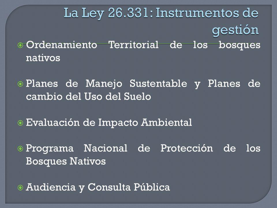 Ordenamiento Territorial de los bosques nativos Planes de Manejo Sustentable y Planes de cambio del Uso del Suelo Evaluación de Impacto Ambiental Prog