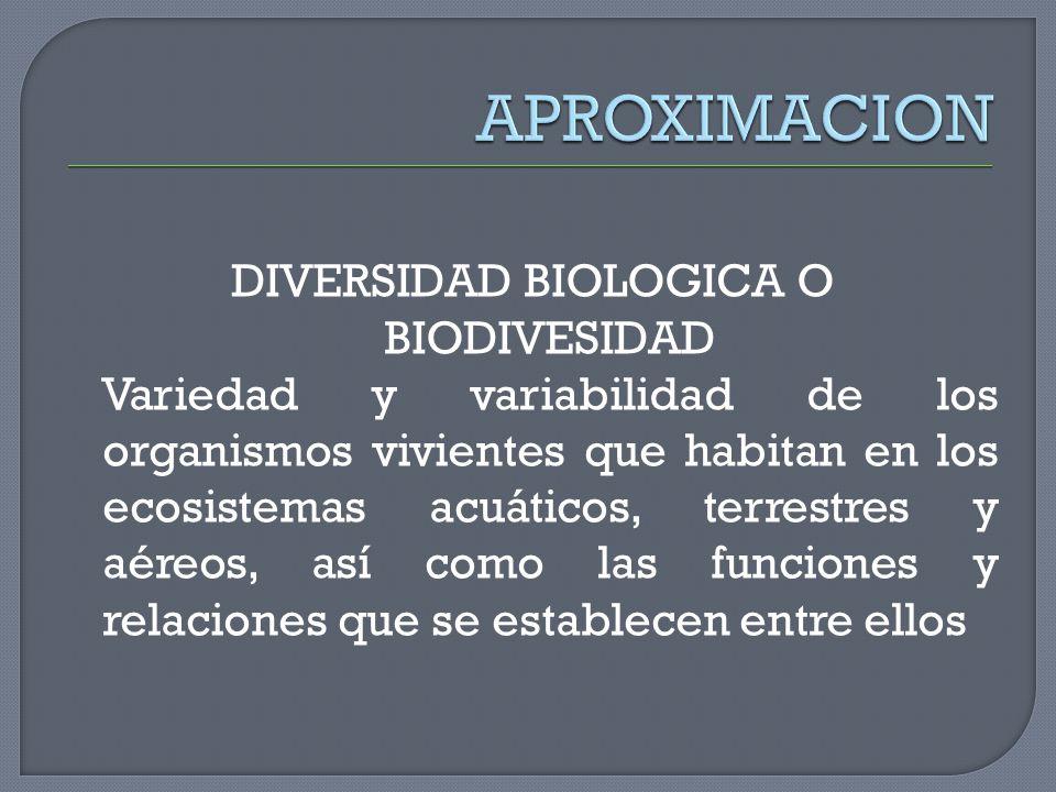 DIVERSIDAD BIOLOGICA O BIODIVESIDAD Variedad y variabilidad de los organismos vivientes que habitan en los ecosistemas acuáticos, terrestres y aéreos,
