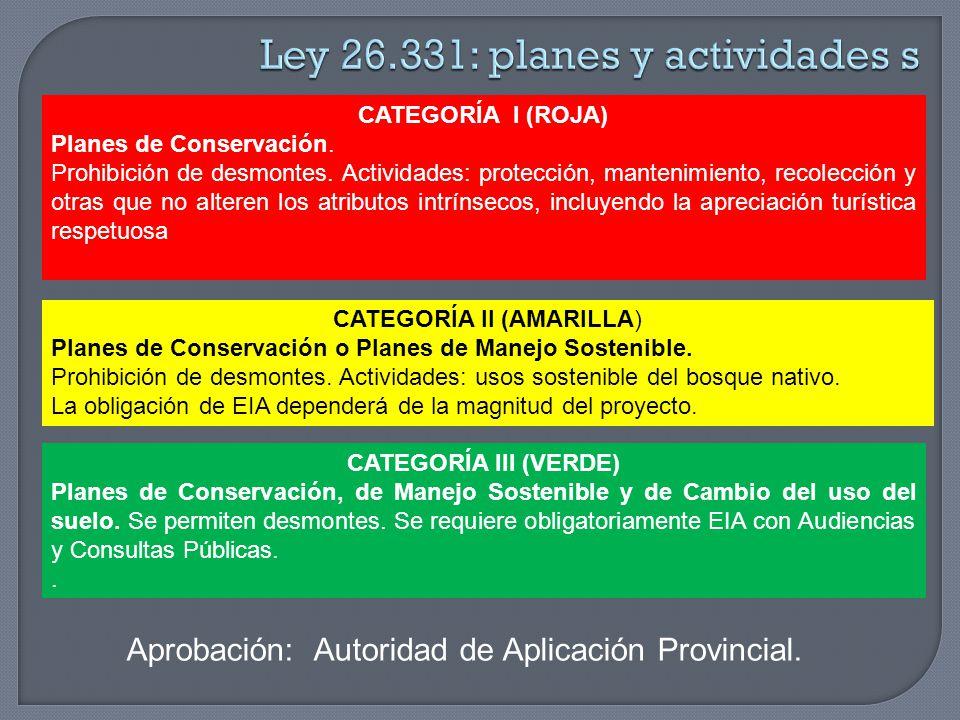 CATEGORÍA I (ROJA) Planes de Conservación. Prohibición de desmontes. Actividades: protección, mantenimiento, recolección y otras que no alteren los at