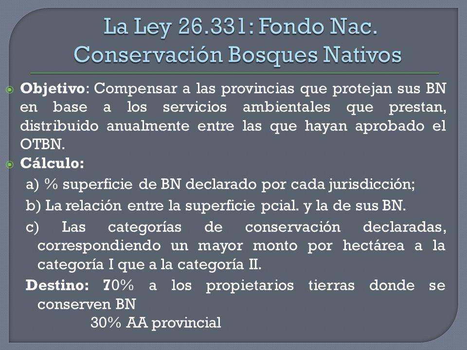 Objetivo: Compensar a las provincias que protejan sus BN en base a los servicios ambientales que prestan, distribuido anualmente entre las que hayan a