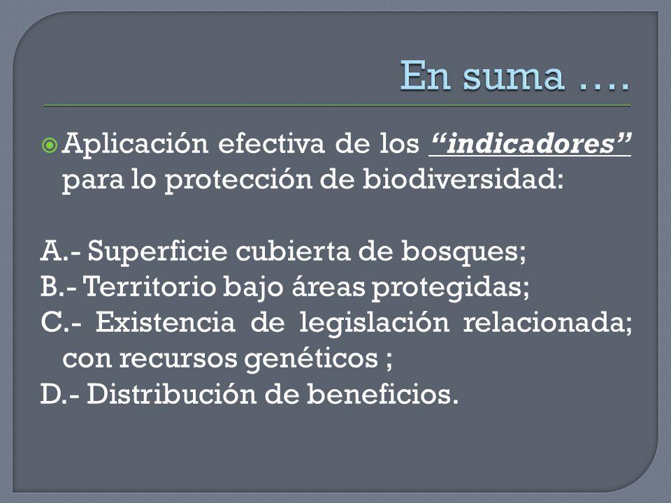 Aplicación efectiva de los indicadores para lo protección de biodiversidad: A.- Superficie cubierta de bosques; B.- Territorio bajo áreas protegidas;