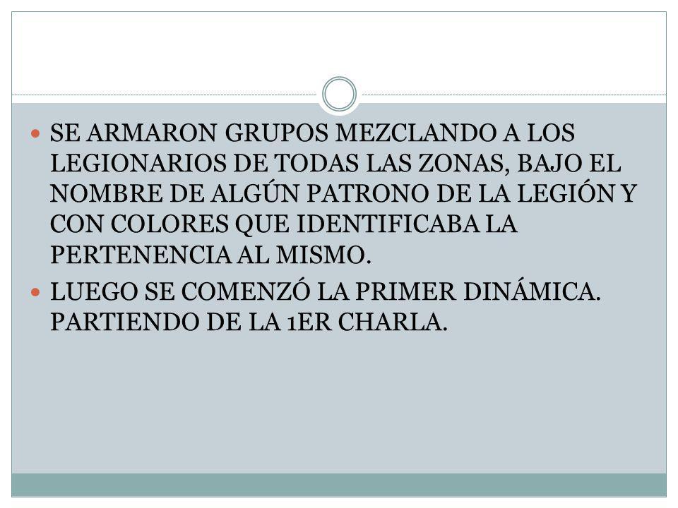 SE ARMARON GRUPOS MEZCLANDO A LOS LEGIONARIOS DE TODAS LAS ZONAS, BAJO EL NOMBRE DE ALGÚN PATRONO DE LA LEGIÓN Y CON COLORES QUE IDENTIFICABA LA PERTENENCIA AL MISMO.