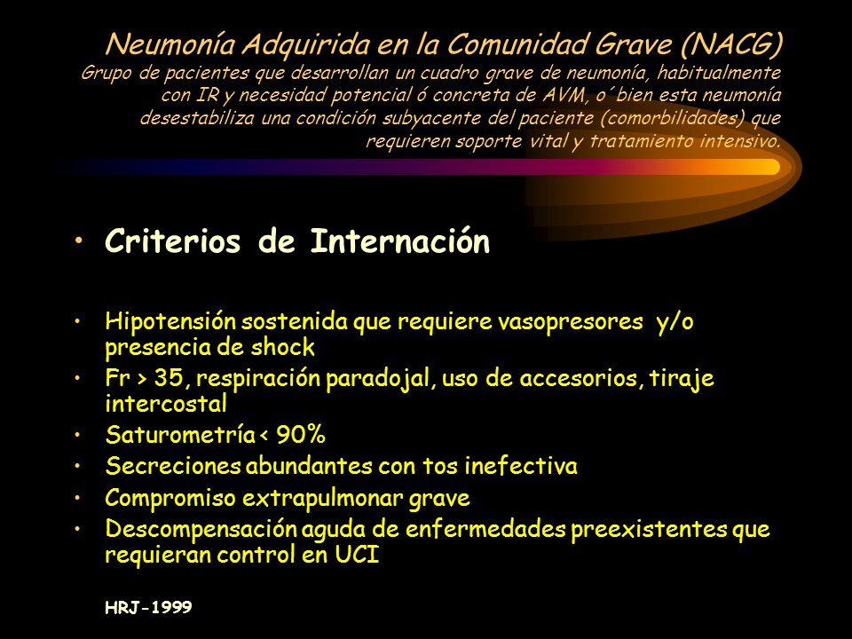 Neumonía Adquirida en la Comunidad(NAC) a.- > de 65 años b.- Enfermedades asociadas que empeoran con la NAC: 1-EPOC 2-ICC 3-IRC c.- Antecedentes: 1- A