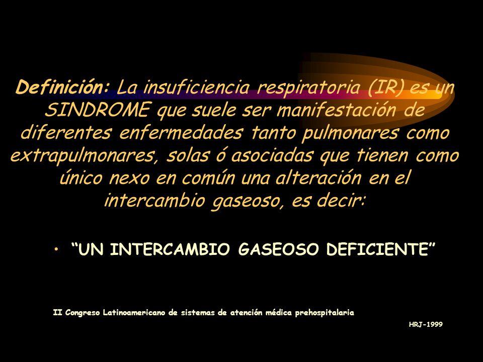 Definición: La insuficiencia respiratoria (IR) es un SINDROME que suele ser manifestación de diferentes enfermedades tanto pulmonares como extrapulmonares, solas ó asociadas que tienen como único nexo en común una alteración en el intercambio gaseoso, es decir: UN INTERCAMBIO GASEOSO DEFICIENTE II Congreso Latinoamericano de sistemas de atención médica prehospitalaria HRJ-1999