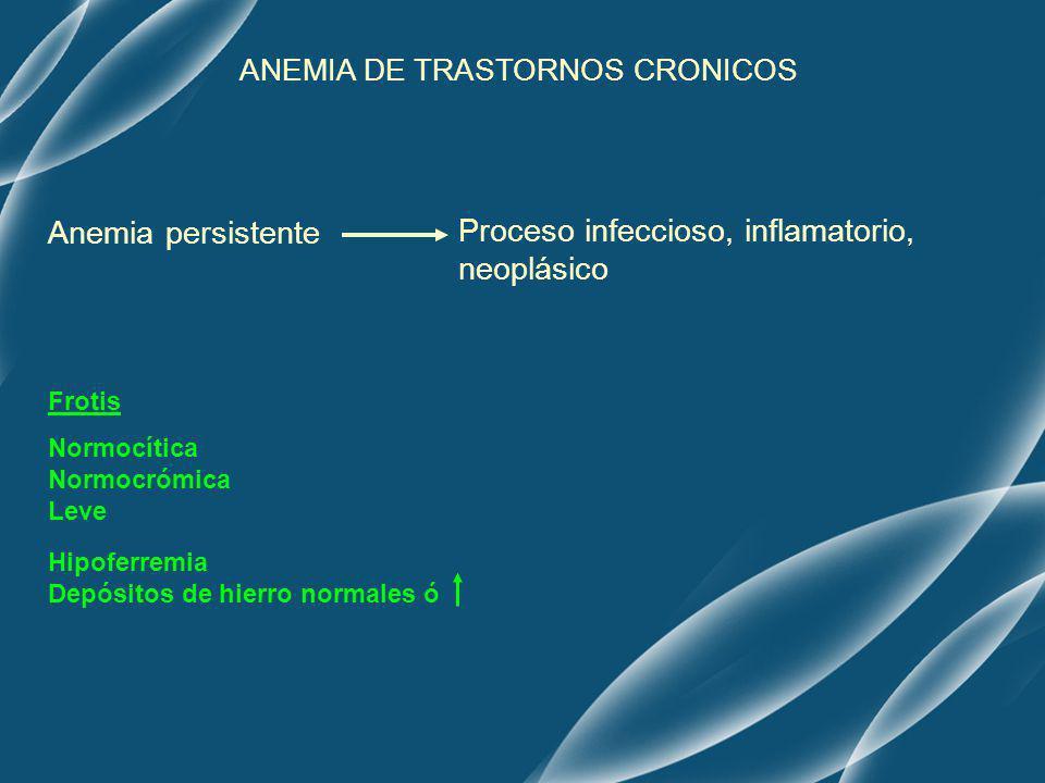 ANEMIA DE TRASTORNOS CRONICOS Anemia persistente Proceso infeccioso, inflamatorio, neoplásico Normocítica Normocrómica Leve Hipoferremia Depósitos de