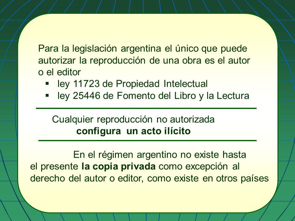 Para la legislación argentina el único que puede autorizar la reproducción de una obra es el autor o el editor ley 11723 de Propiedad Intelectual ley