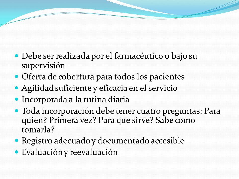 Debe ser realizada por el farmacéutico o bajo su supervisión Oferta de cobertura para todos los pacientes Agilidad suficiente y eficacia en el servici