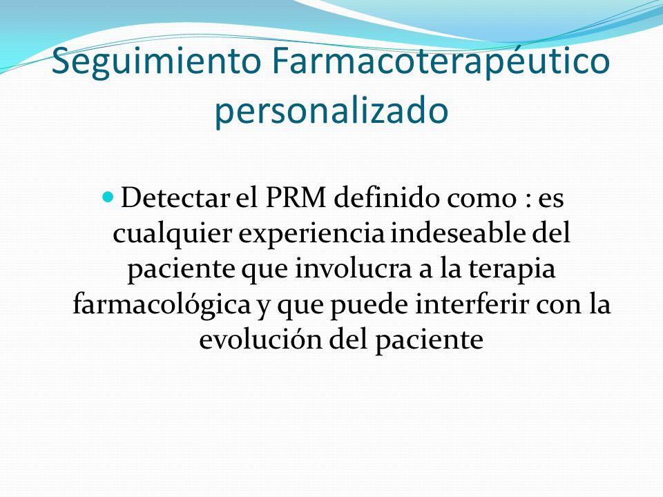 Seguimiento Farmacoterapéutico personalizado Detectar el PRM definido como : es cualquier experiencia indeseable del paciente que involucra a la terap