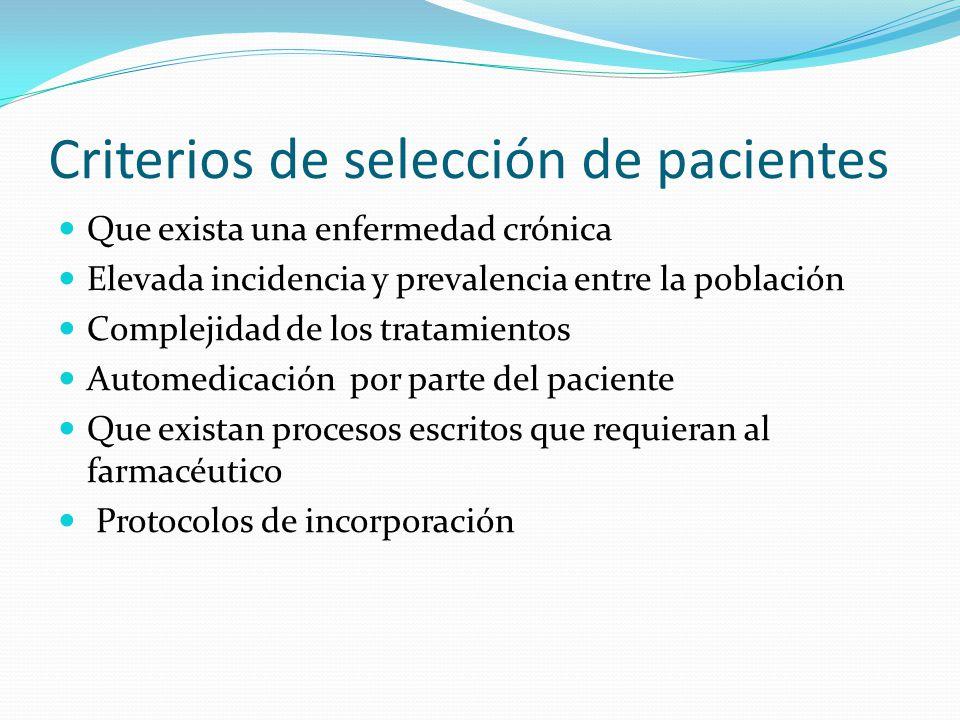 Criterios de selección de pacientes Que exista una enfermedad crónica Elevada incidencia y prevalencia entre la población Complejidad de los tratamien