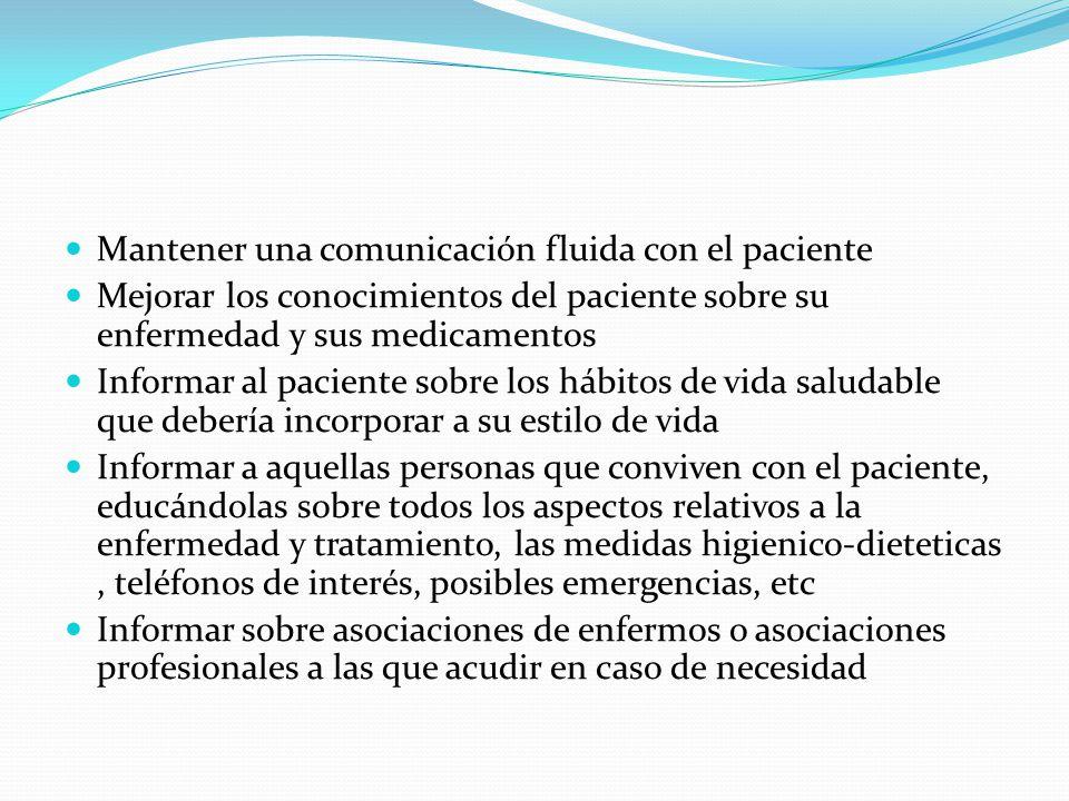 Mantener una comunicación fluida con el paciente Mejorar los conocimientos del paciente sobre su enfermedad y sus medicamentos Informar al paciente so
