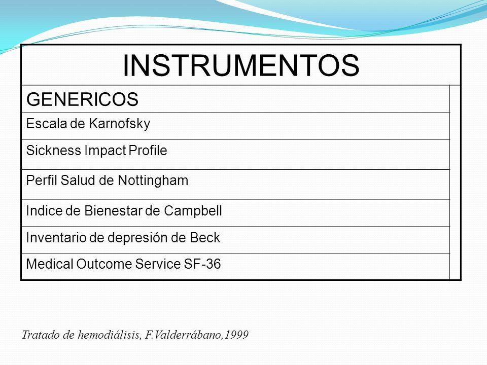 INSTRUMENTOS GENERICOS Escala de Karnofsky Sickness Impact Profile Perfil Salud de Nottingham Indice de Bienestar de Campbell Inventario de depresión