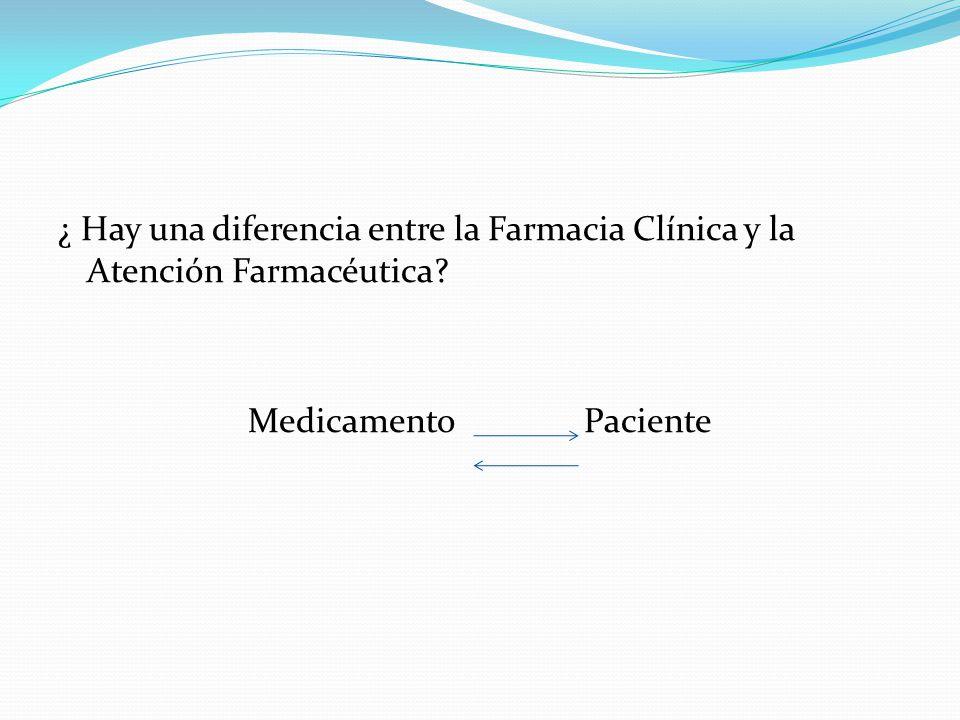 ¿ Hay una diferencia entre la Farmacia Clínica y la Atención Farmacéutica? Medicamento Paciente