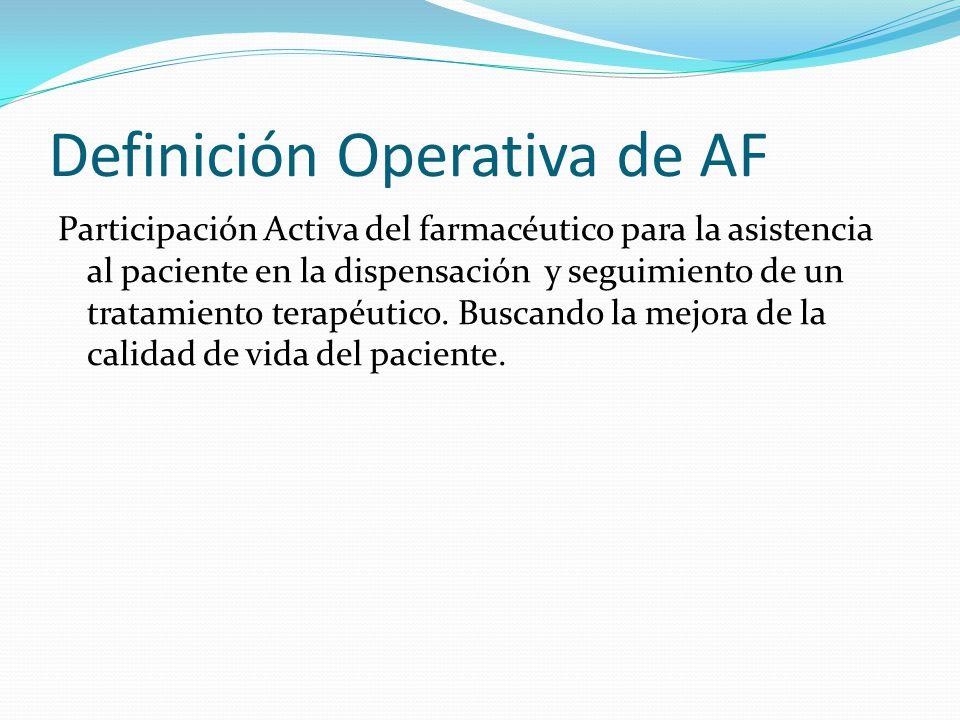 Definición Operativa de AF Participación Activa del farmacéutico para la asistencia al paciente en la dispensación y seguimiento de un tratamiento ter