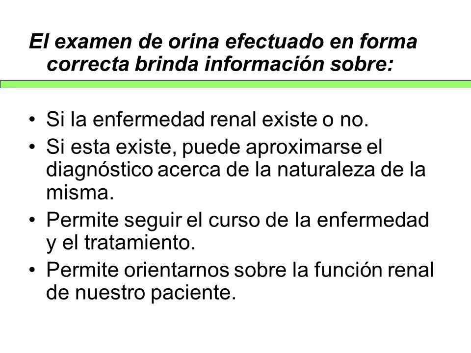 El examen de orina efectuado en forma correcta brinda información sobre: Si la enfermedad renal existe o no. Si esta existe, puede aproximarse el diag