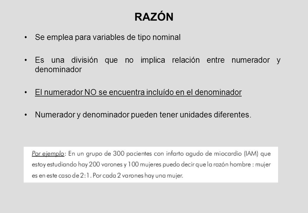 RAZÓN Se emplea para variables de tipo nominal Es una división que no implica relación entre numerador y denominador El numerador NO se encuentra incluído en el denominador Numerador y denominador pueden tener unidades diferentes.