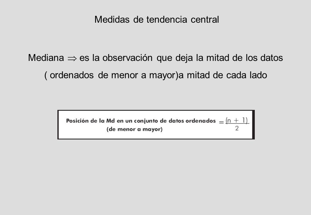 Medidas de tendencia central Mediana es la observación que deja la mitad de los datos ( ordenados de menor a mayor)a mitad de cada lado