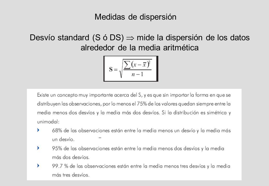Medidas de dispersión Desvío standard (S ó DS) mide la dispersión de los datos alrededor de la media aritmética