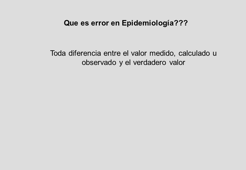 Que es error en Epidemiología .