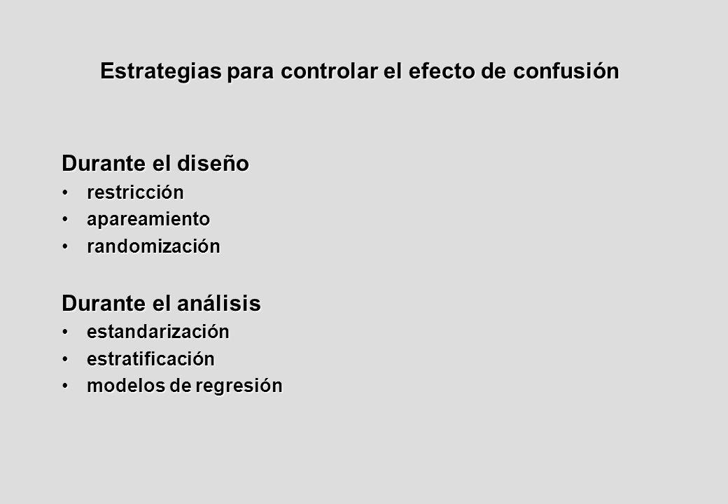 Estrategias para controlar el efecto de confusión Durante el diseño restricciónrestricción apareamientoapareamiento randomizaciónrandomización Durante el análisis estandarizaciónestandarización estratificaciónestratificación modelos de regresiónmodelos de regresión