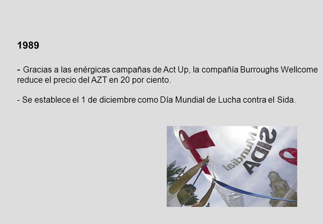 1989 - Gracias a las enérgicas campañas de Act Up, la compañía Burroughs Wellcome reduce el precio del AZT en 20 por ciento.