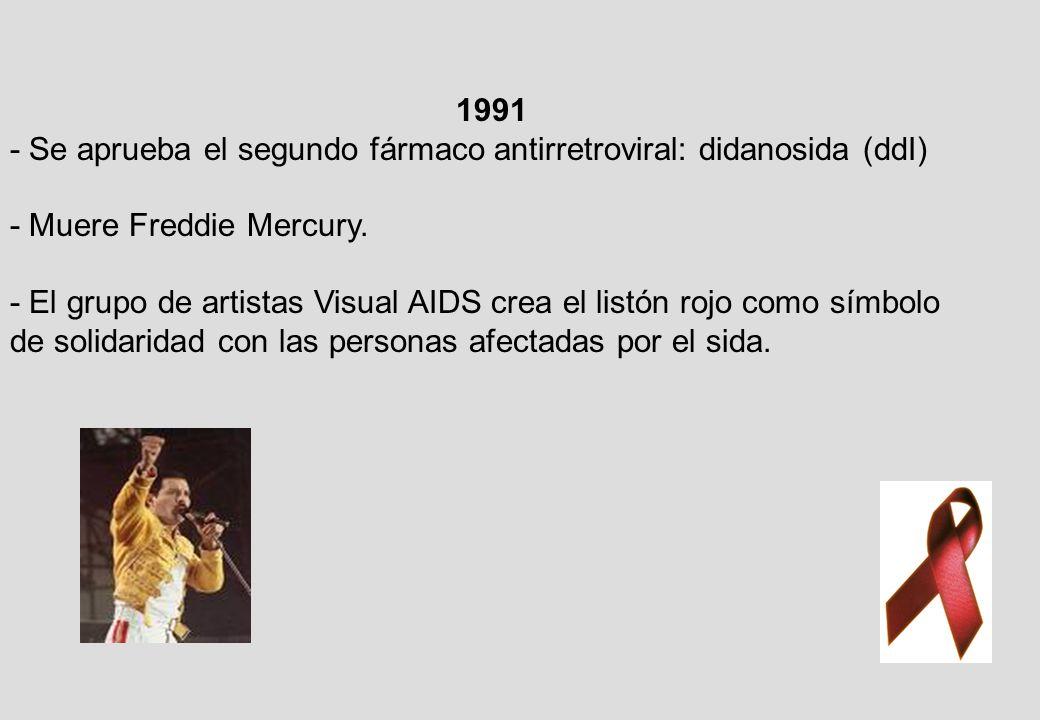1991 - Se aprueba el segundo fármaco antirretroviral: didanosida (ddI) - Muere Freddie Mercury.