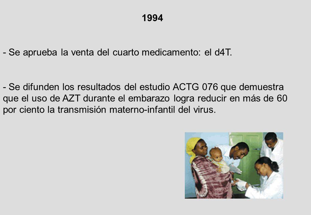 1994 - Se aprueba la venta del cuarto medicamento: el d4T.