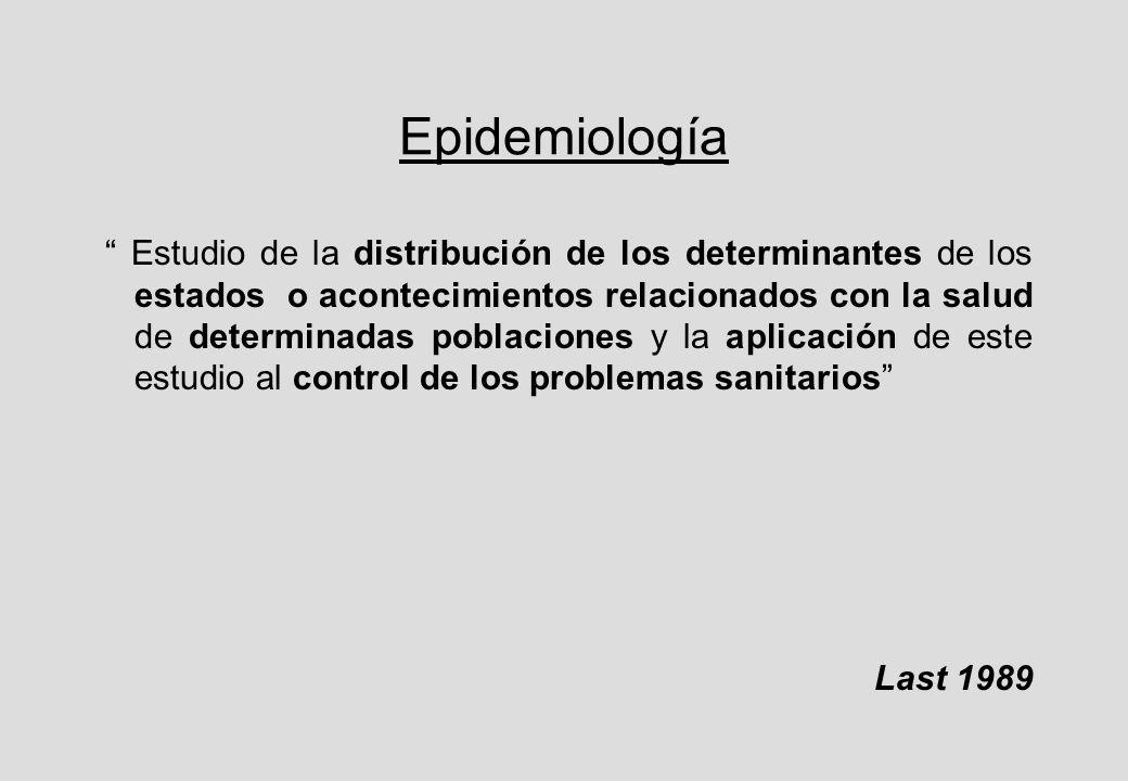 Epidemiología Estudio de la distribución de los determinantes de los estados o acontecimientos relacionados con la salud de determinadas poblaciones y la aplicación de este estudio al control de los problemas sanitarios Last 1989