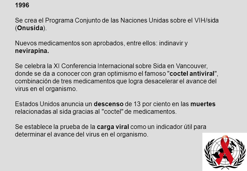 1996 Se crea el Programa Conjunto de las Naciones Unidas sobre el VIH/sida (Onusida).