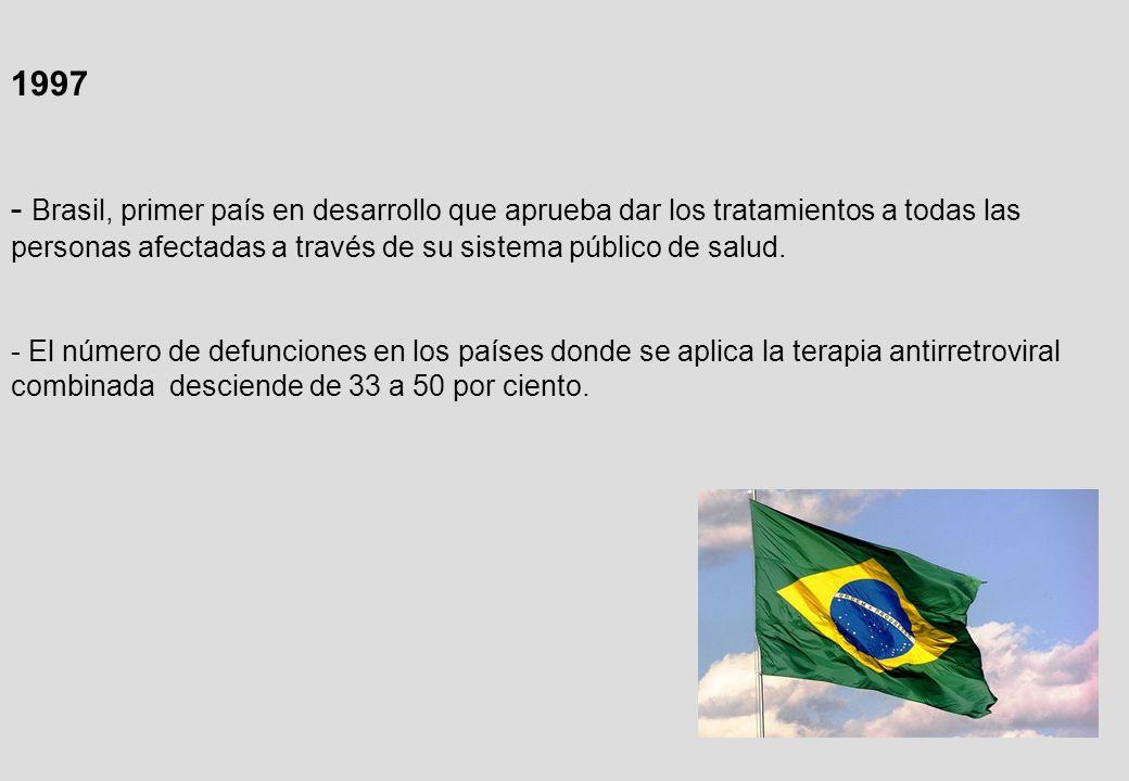1997 - Brasil, primer país en desarrollo que aprueba dar los tratamientos a todas las personas afectadas a través de su sistema público de salud.