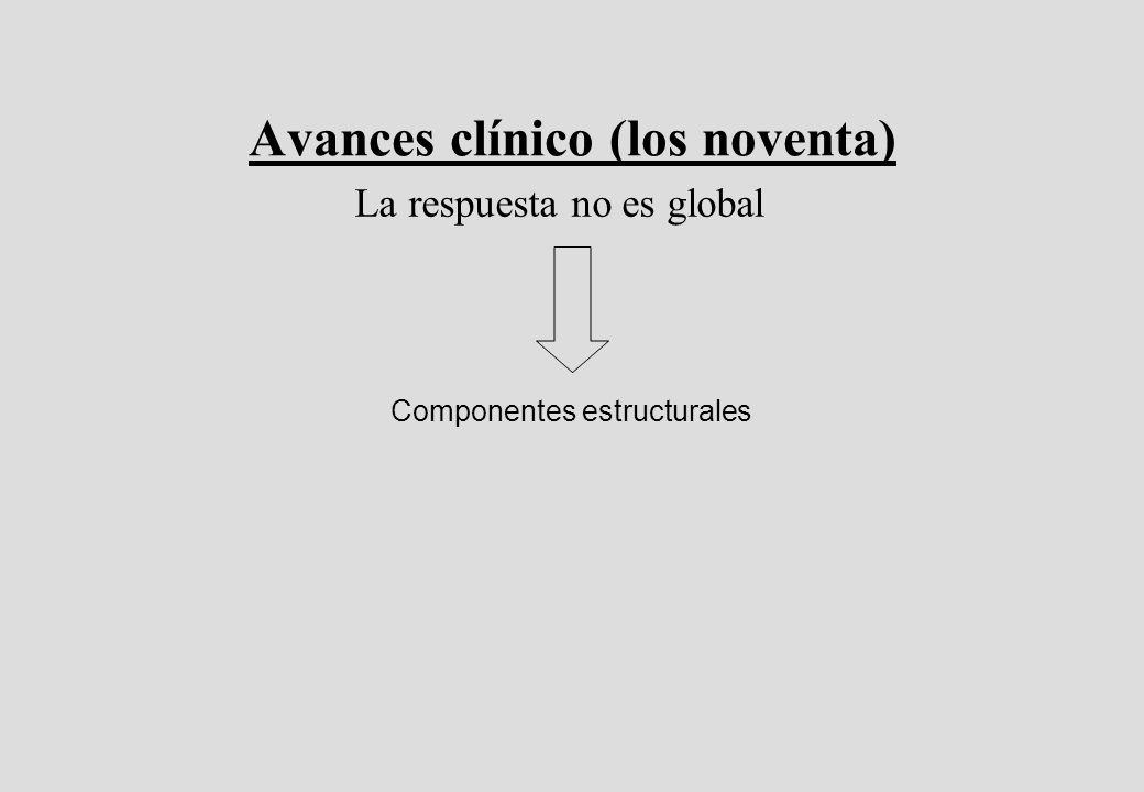 Avances clínico (los noventa) La respuesta no es global Componentes estructurales