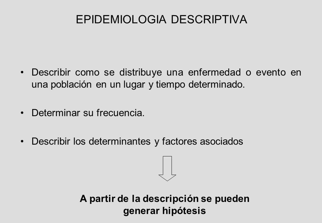 EPIDEMIOLOGIA DESCRIPTIVA Describir como se distribuye una enfermedad o evento en una población en un lugar y tiempo determinado.