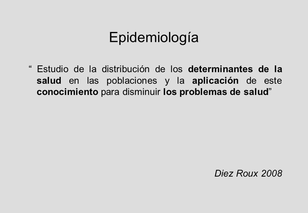 Epidemiología Estudio de la distribución de los determinantes de la salud en las poblaciones y la aplicación de este conocimiento para disminuir los problemas de salud Diez Roux 2008