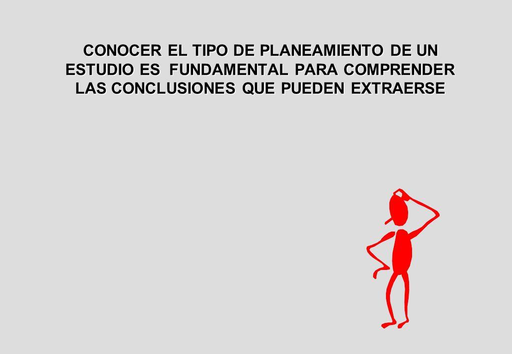 CONOCER EL TIPO DE PLANEAMIENTO DE UN ESTUDIO ES FUNDAMENTAL PARA COMPRENDER LAS CONCLUSIONES QUE PUEDEN EXTRAERSE