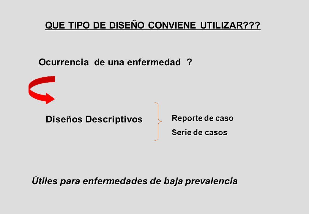 QUE TIPO DE DISEÑO CONVIENE UTILIZAR . Ocurrencia de una enfermedad .