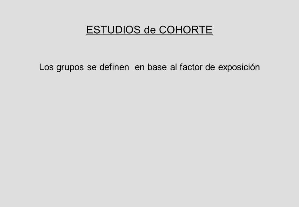 ESTUDIOS de COHORTE Los grupos se definen en base al factor de exposición