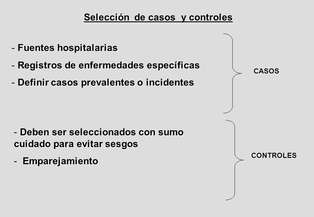 Selección de casos y controles - Fuentes hospitalarias - Registros de enfermedades específicas - Definir casos prevalentes o incidentes CASOS - Deben ser seleccionados con sumo cuidado para evitar sesgos - Emparejamiento CONTROLES
