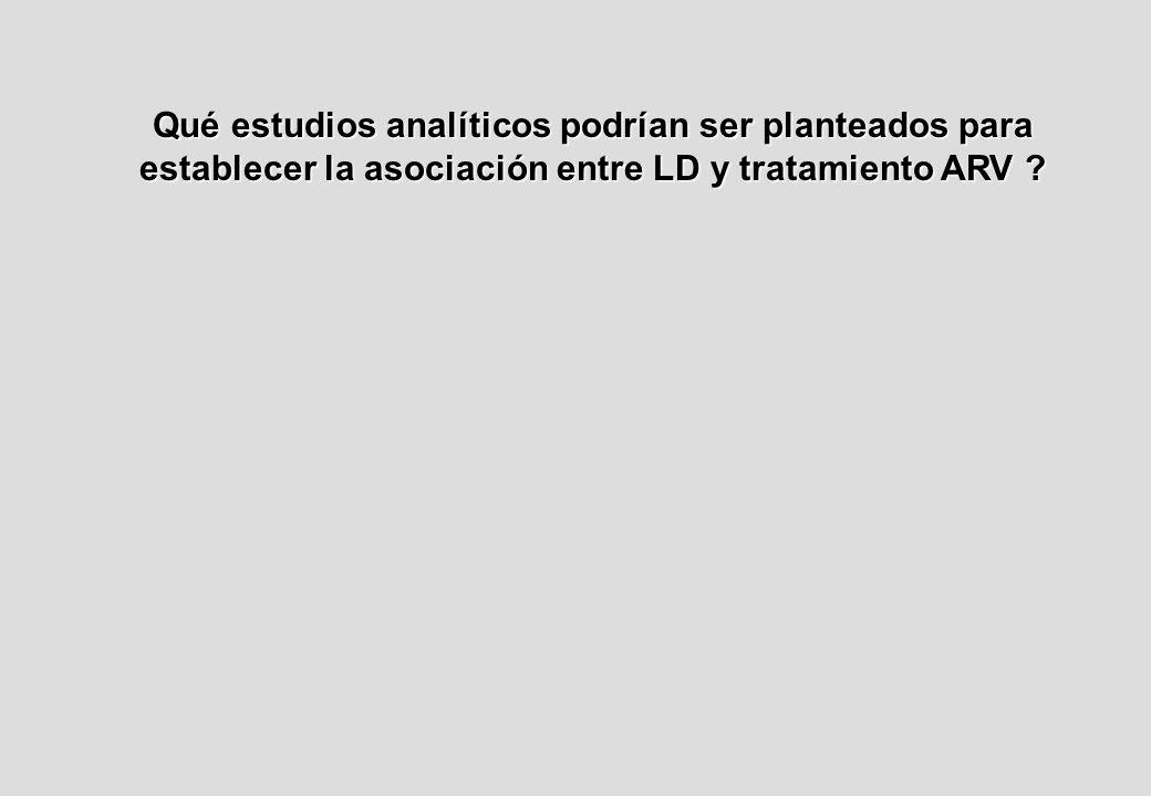 Qué estudios analíticos podrían ser planteados para establecer la asociación entre LD y tratamiento ARV