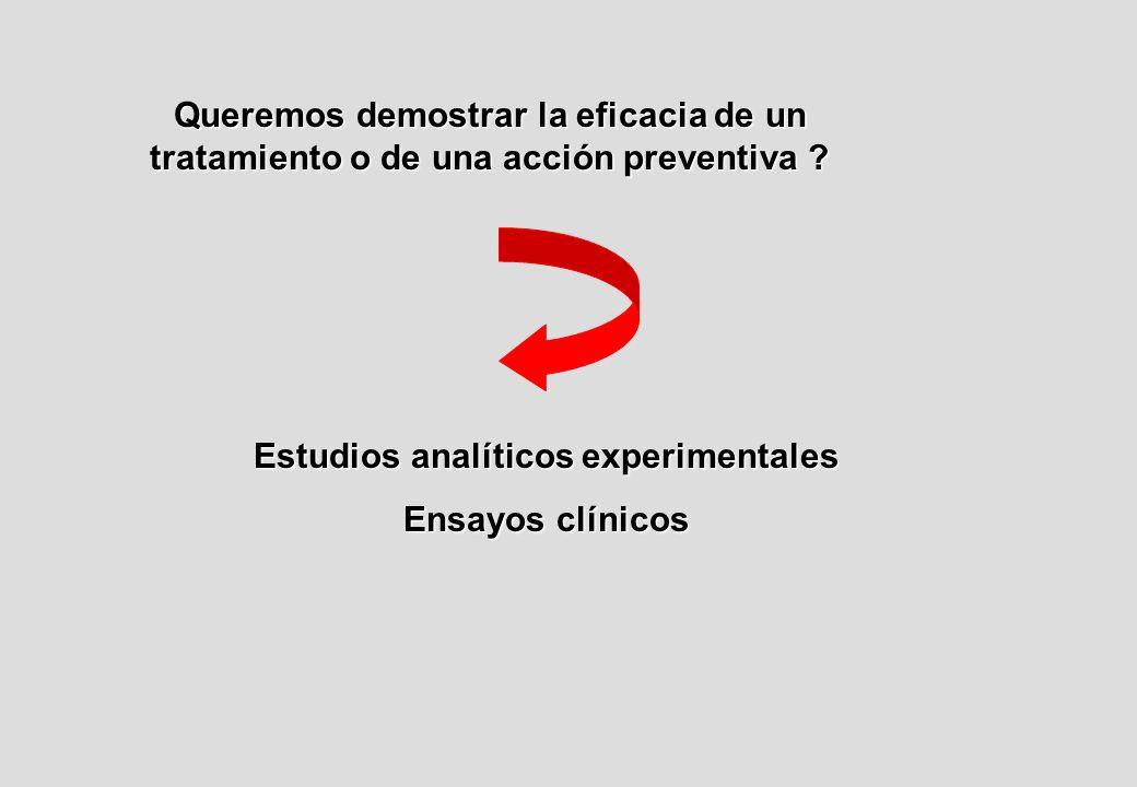 Queremos demostrar la eficacia de un tratamiento o de una acción preventiva .