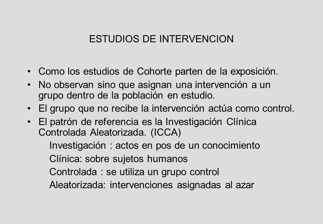 ESTUDIOS DE INTERVENCION Como los estudios de Cohorte parten de la exposición.
