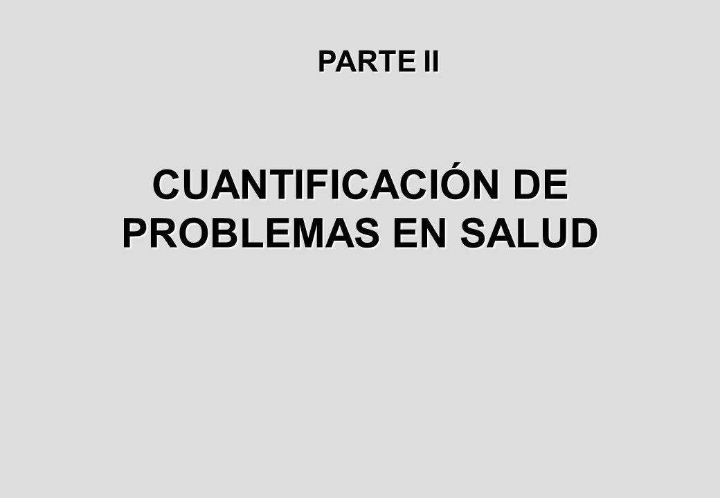 CUANTIFICACIÓN DE PROBLEMAS EN SALUD PARTE II