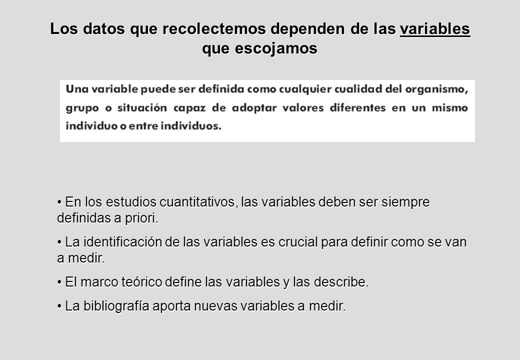 Los datos que recolectemos dependen de las variables que escojamos En los estudios cuantitativos, las variables deben ser siempre definidas a priori.